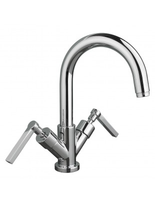 Wash basin single-hole mixer with swinging spout