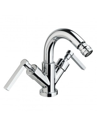 Bidet single-hole mixer with swinging spout
