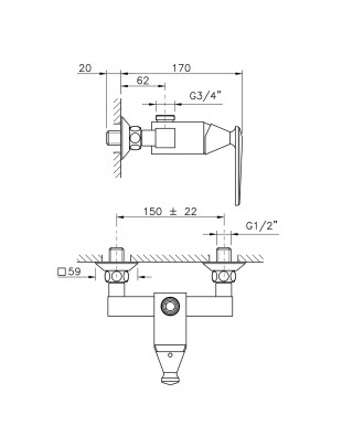 Single-lever shower mixer, external wall type