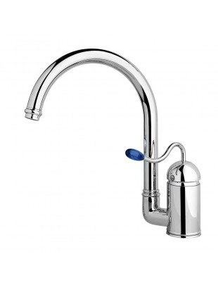 Sink set single-lever mixer pivoting tube