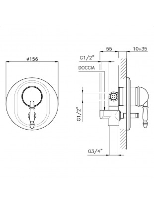 Ext. part of single-lever for built-in shower with diverter