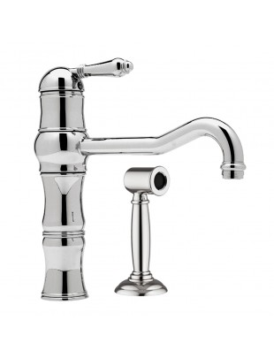 One-hole sink mixer with side spray