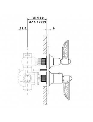 """Ext. type built-in therm. 3/4"""" with stop cock - Liberty"""