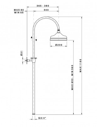 Column shower with oversize showerhead
