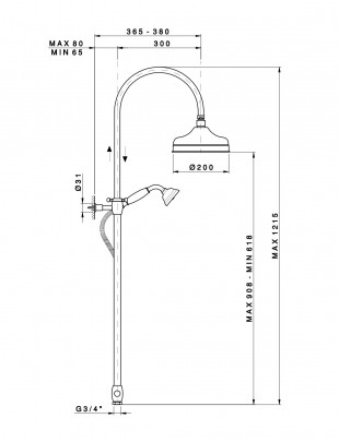 Column shower with oversize showerhead, shower and diverter